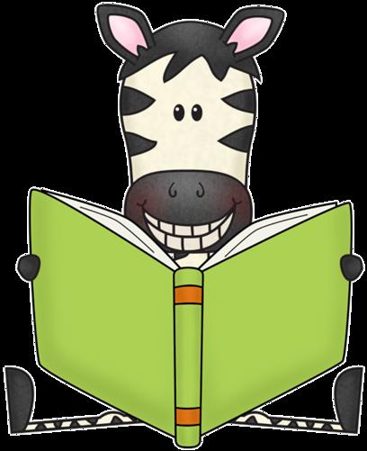 cute cartoon zebra smiling with a book